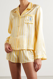 Morgan Lane Ruthie Corey embellished embroidered striped satin pajama set
