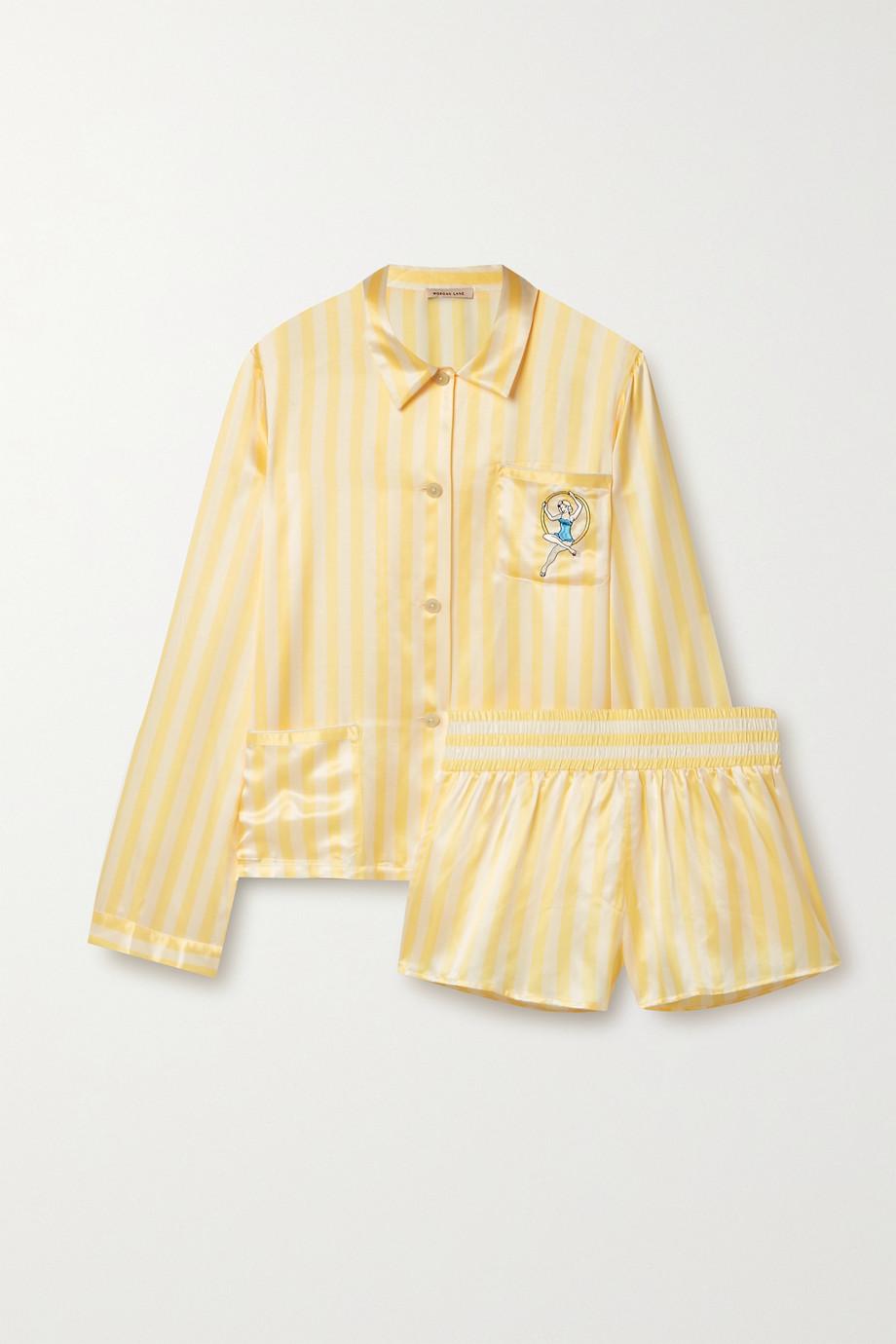 Morgan Lane Ruthie Corey embellished embroidered striped satin pajama set