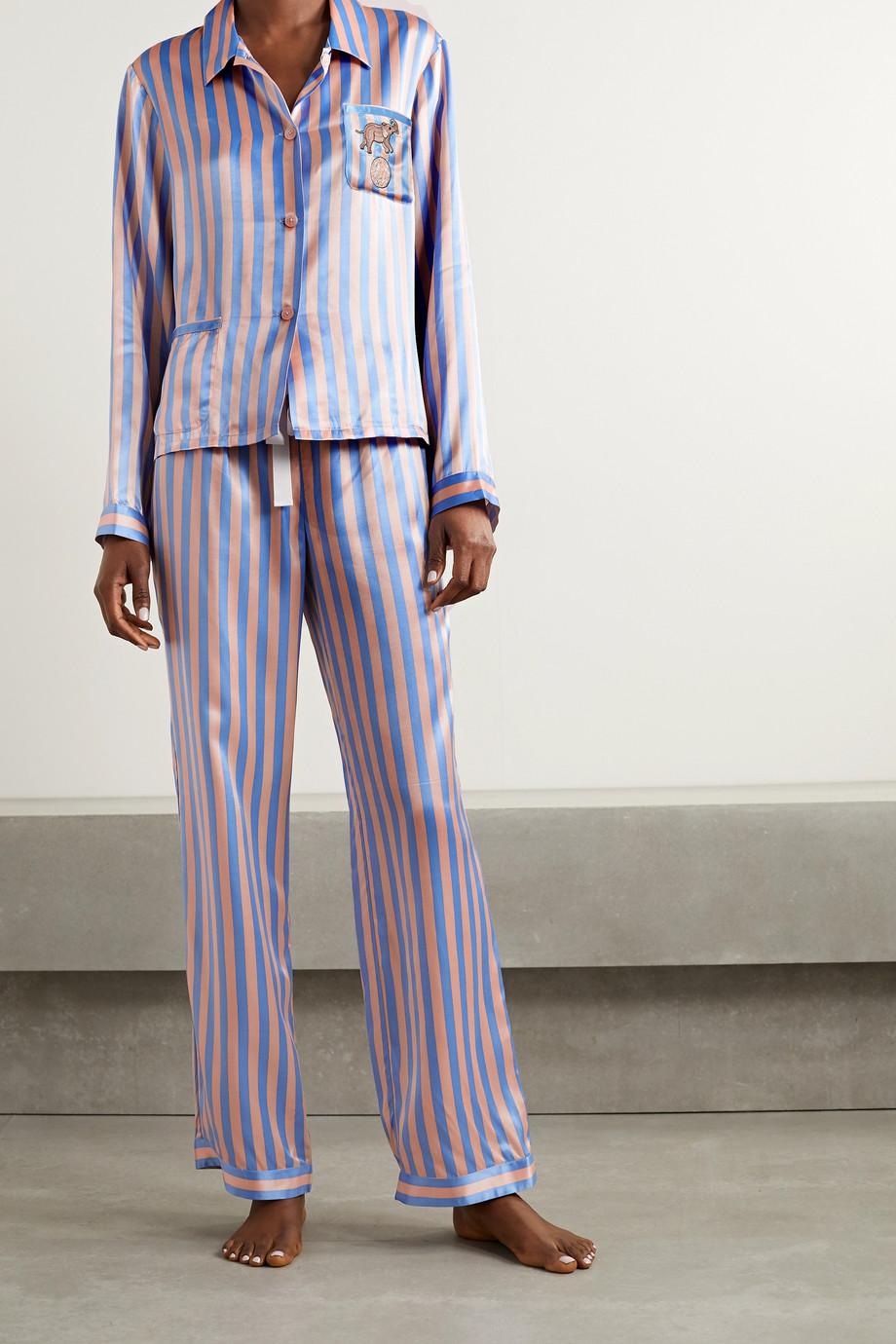 Morgan Lane Ruthie Chantal embellished embroidered striped satin pajama set