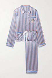 Morgan Lane Ruthie Chantal embellished embroidered striped satin pajama set