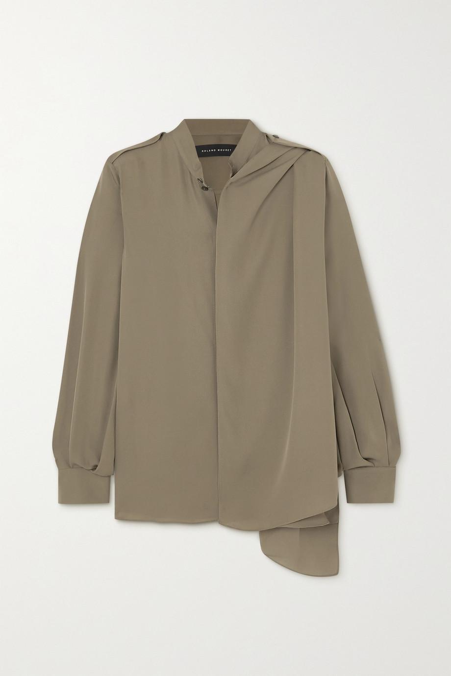 Roland Mouret Hallow draped silk-georgette blouse
