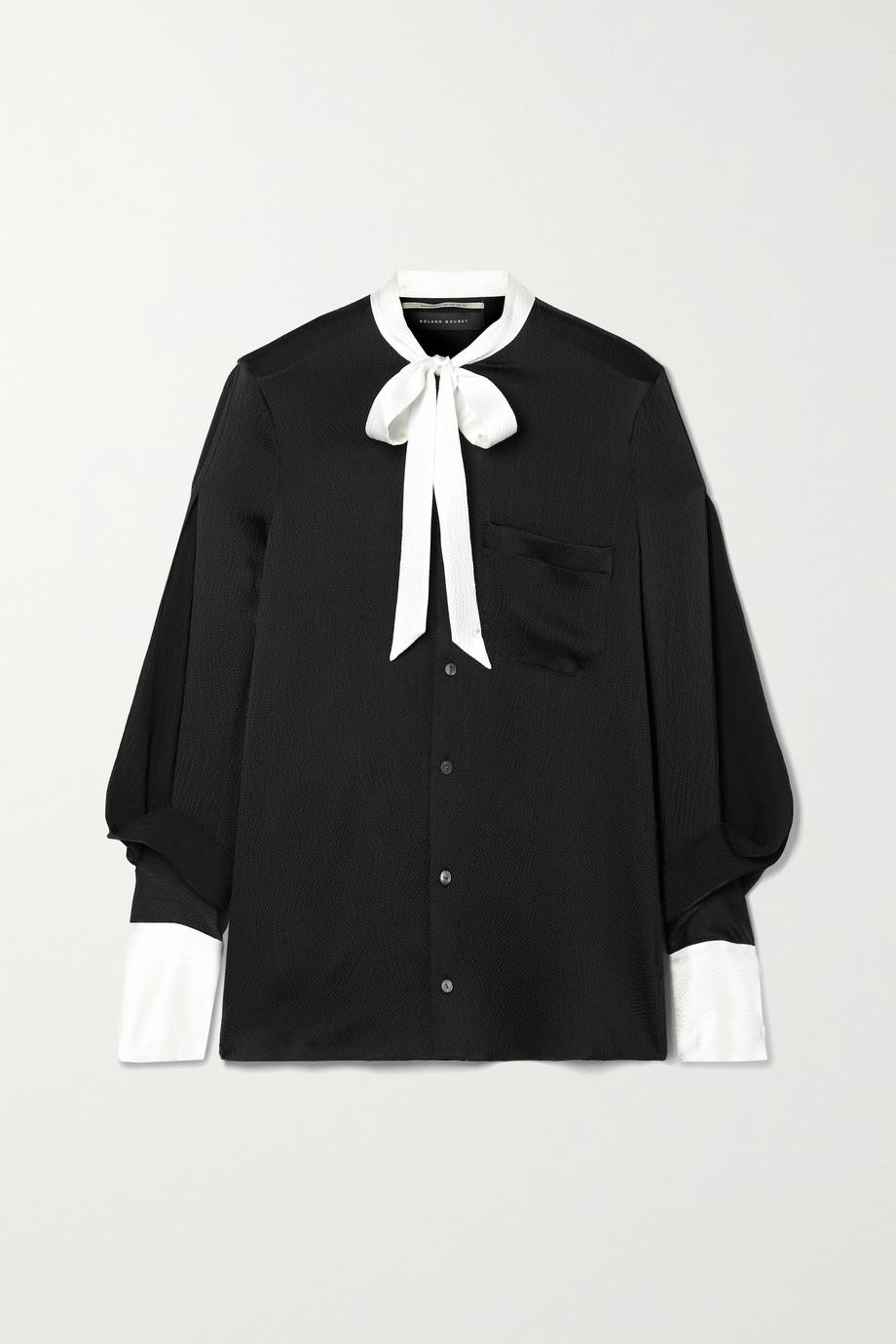 Roland Mouret Isleham pussy-bow two-tone silk-blend cloqué blouse