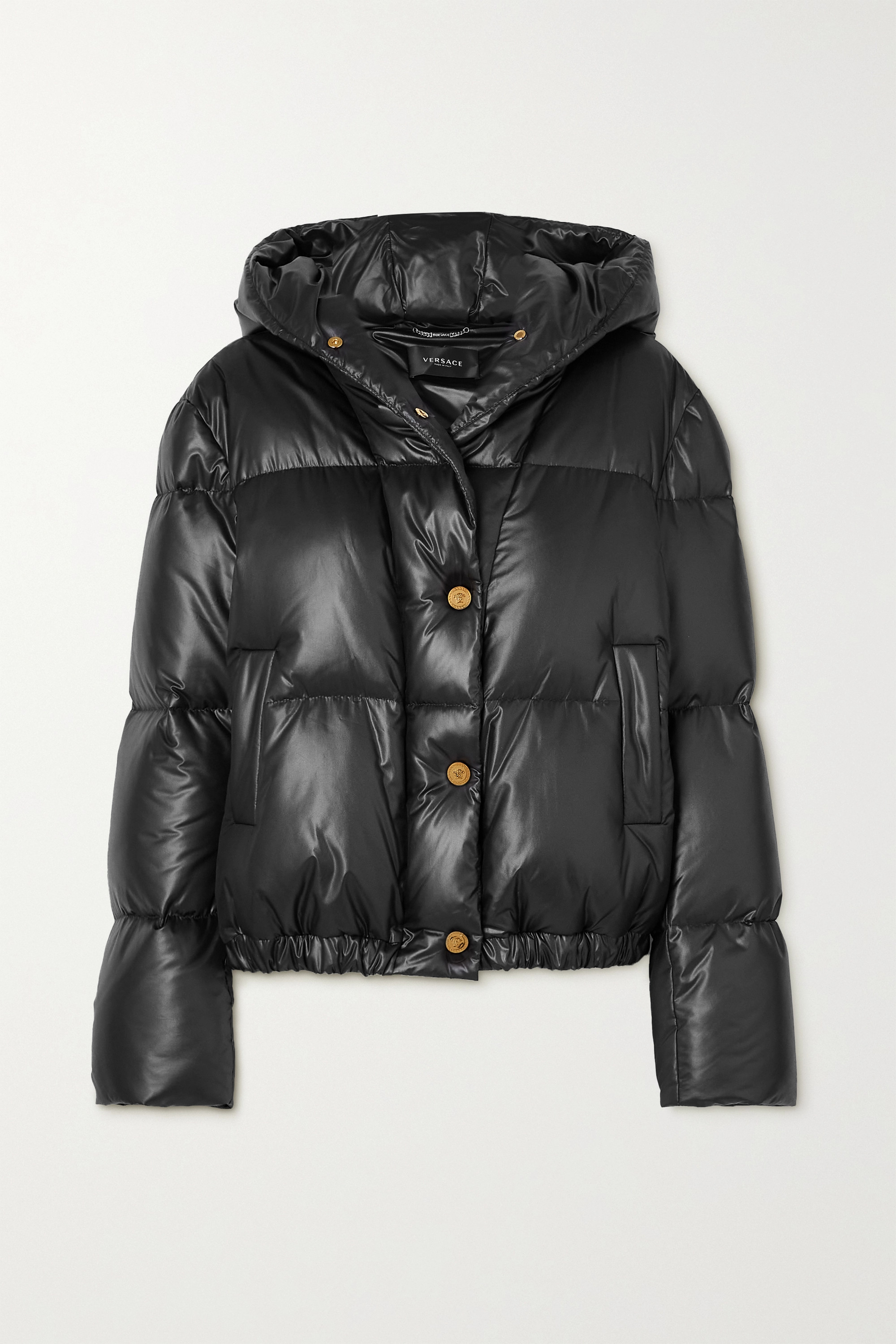 Versace Hooded quilted shell down coat