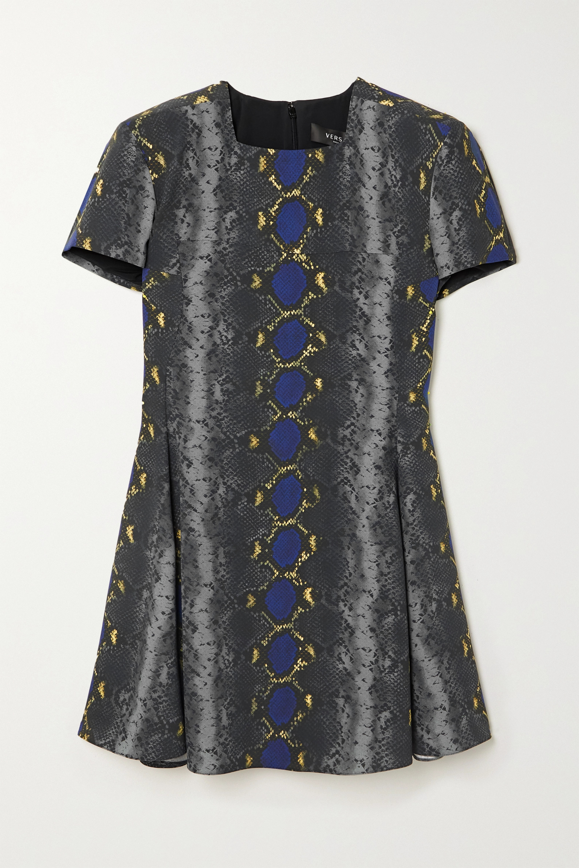 Versace Snake-print crepe mini dress
