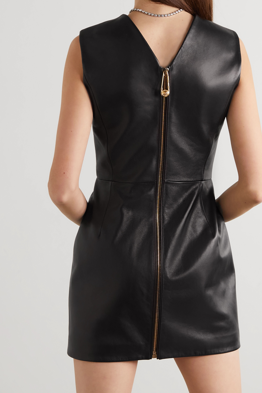 Versace Paneled leather mini dress