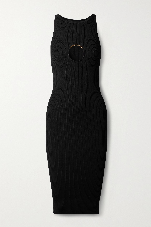 Versace Embellished cutout ribbed-knit midi dress