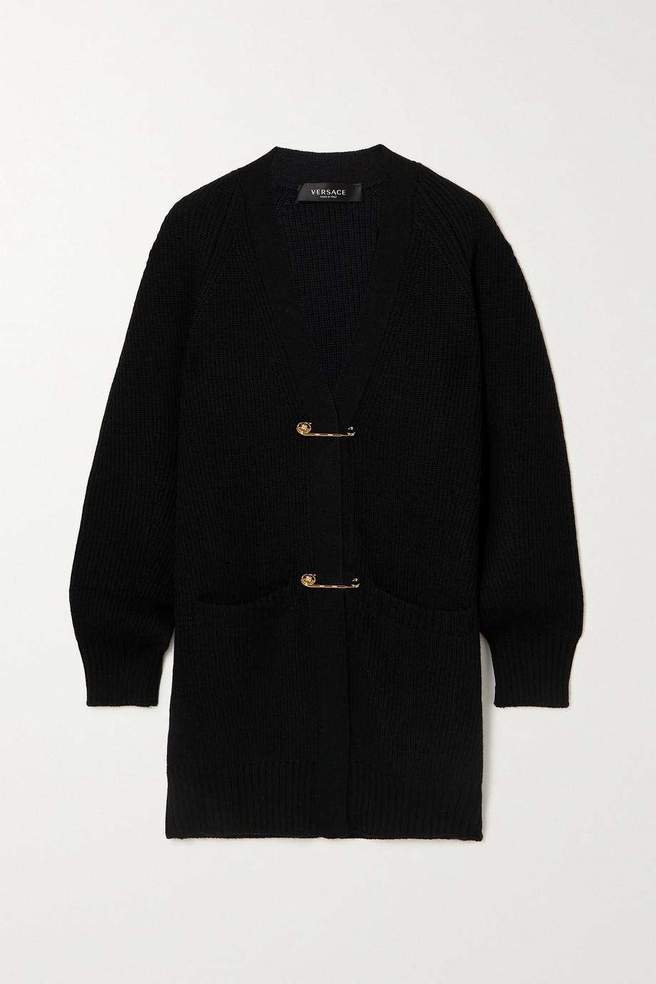 Versace Embellished ribbed wool cardigan