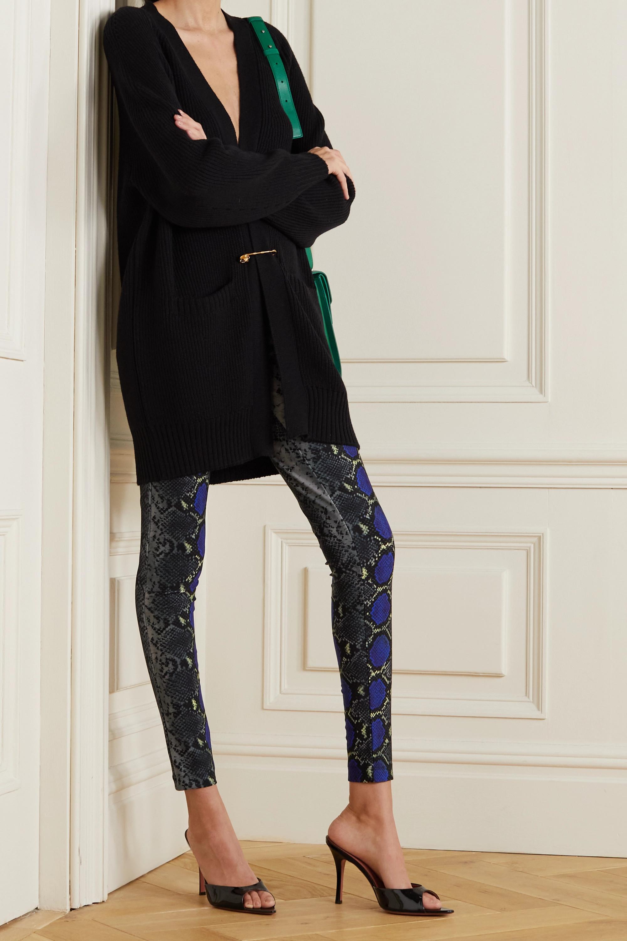 Versace Cropped snake-print jersey leggings