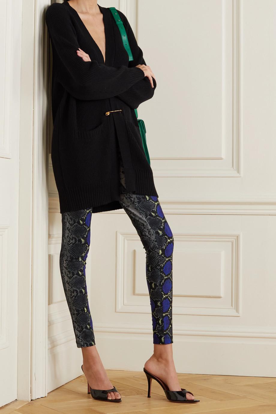 Versace 蛇纹平纹布九分紧身裤
