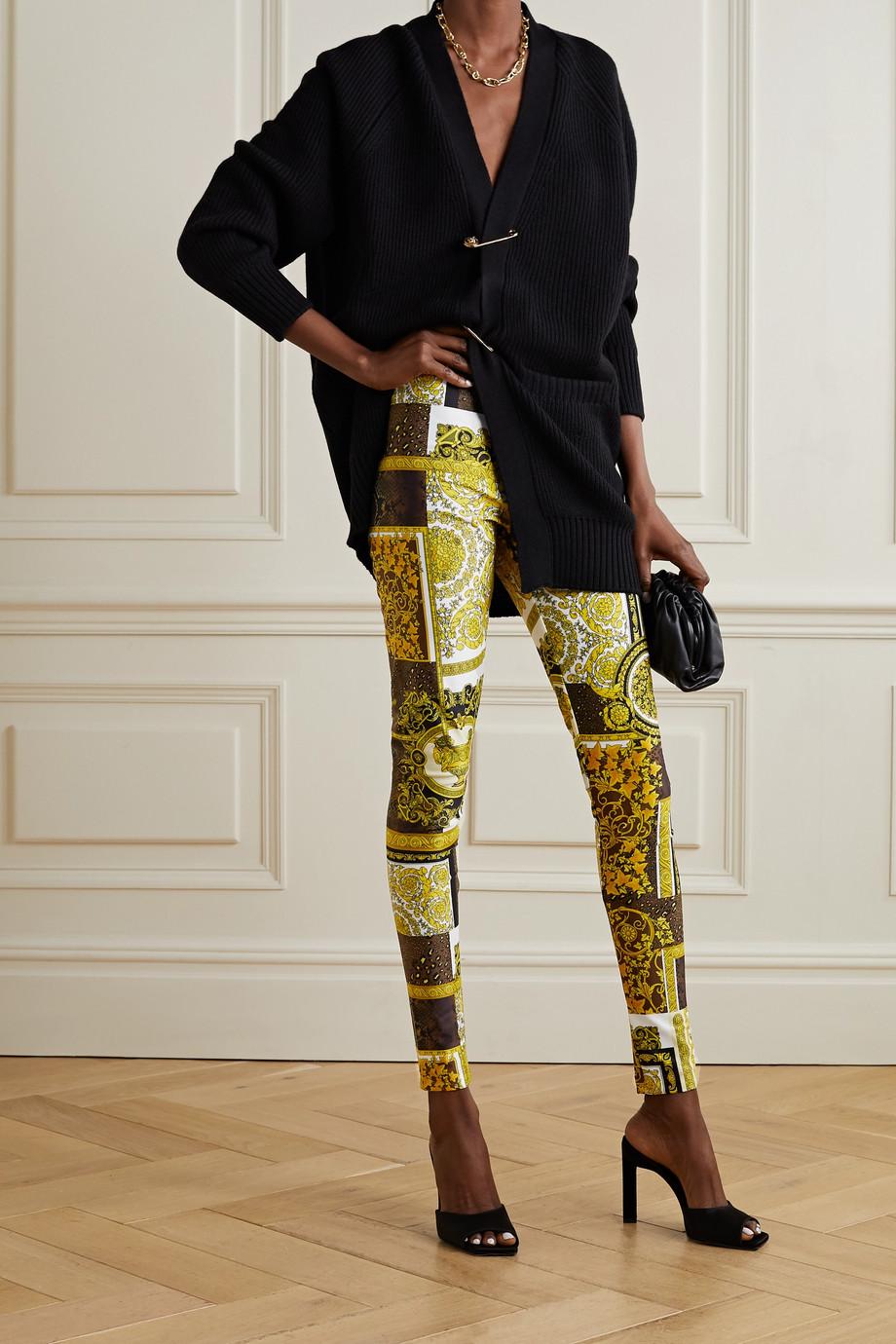 Versace Barocco 印花弹力平纹布紧身裤