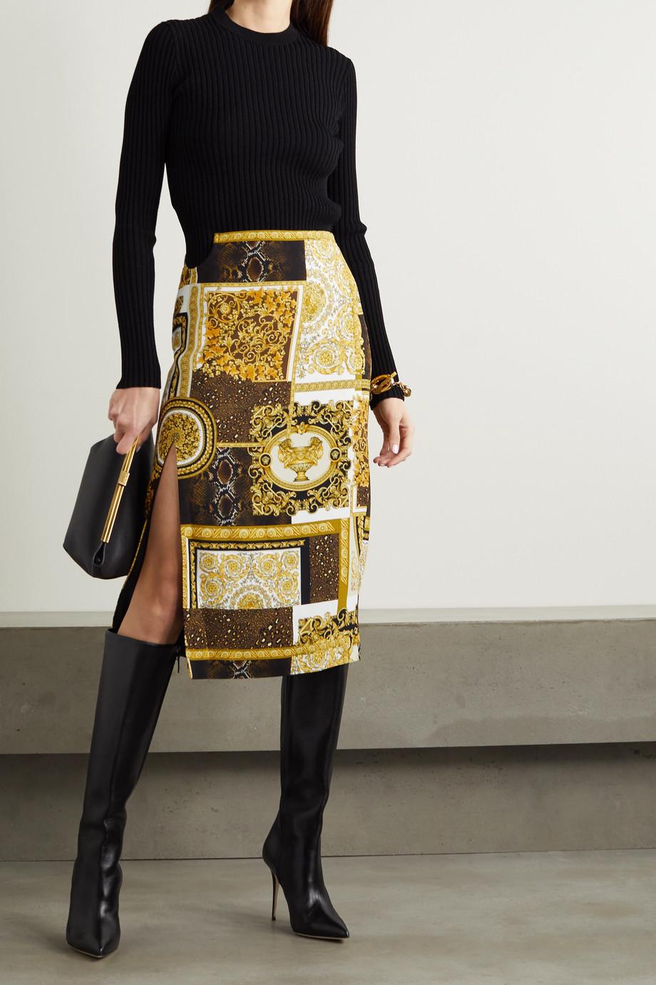 Versace Cutout printed cady midi skirt