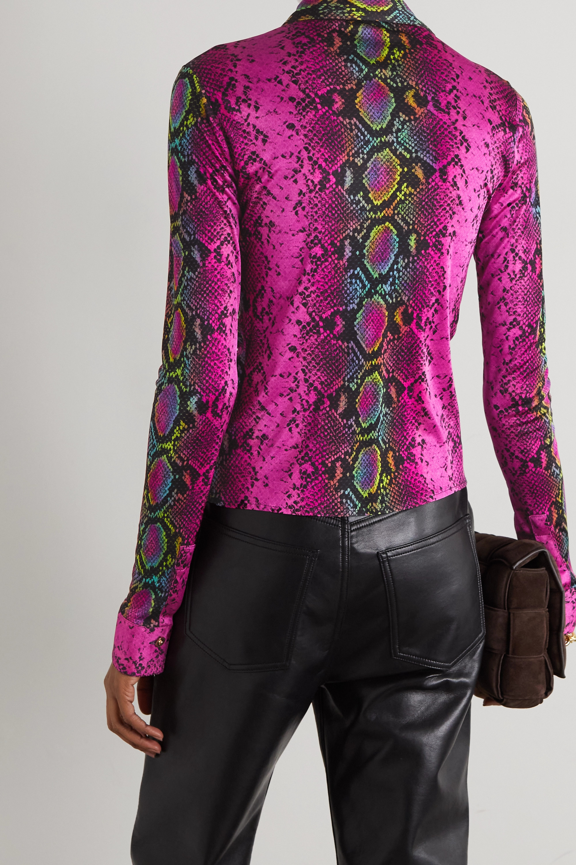 Versace Ruched snake-print jersey blouse