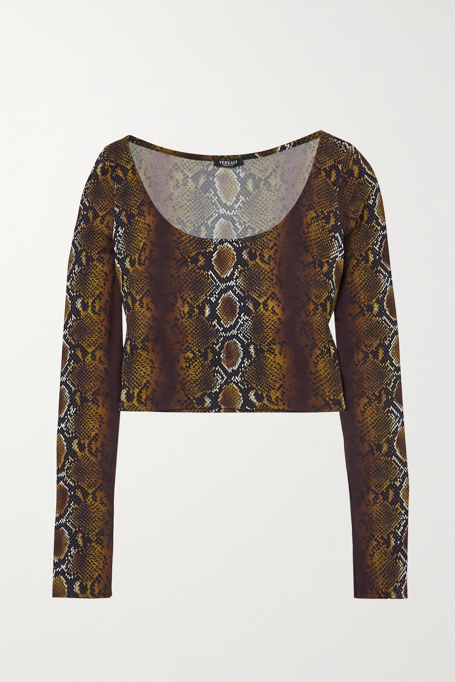 Versace Cropped snake-print stretch-crepe top
