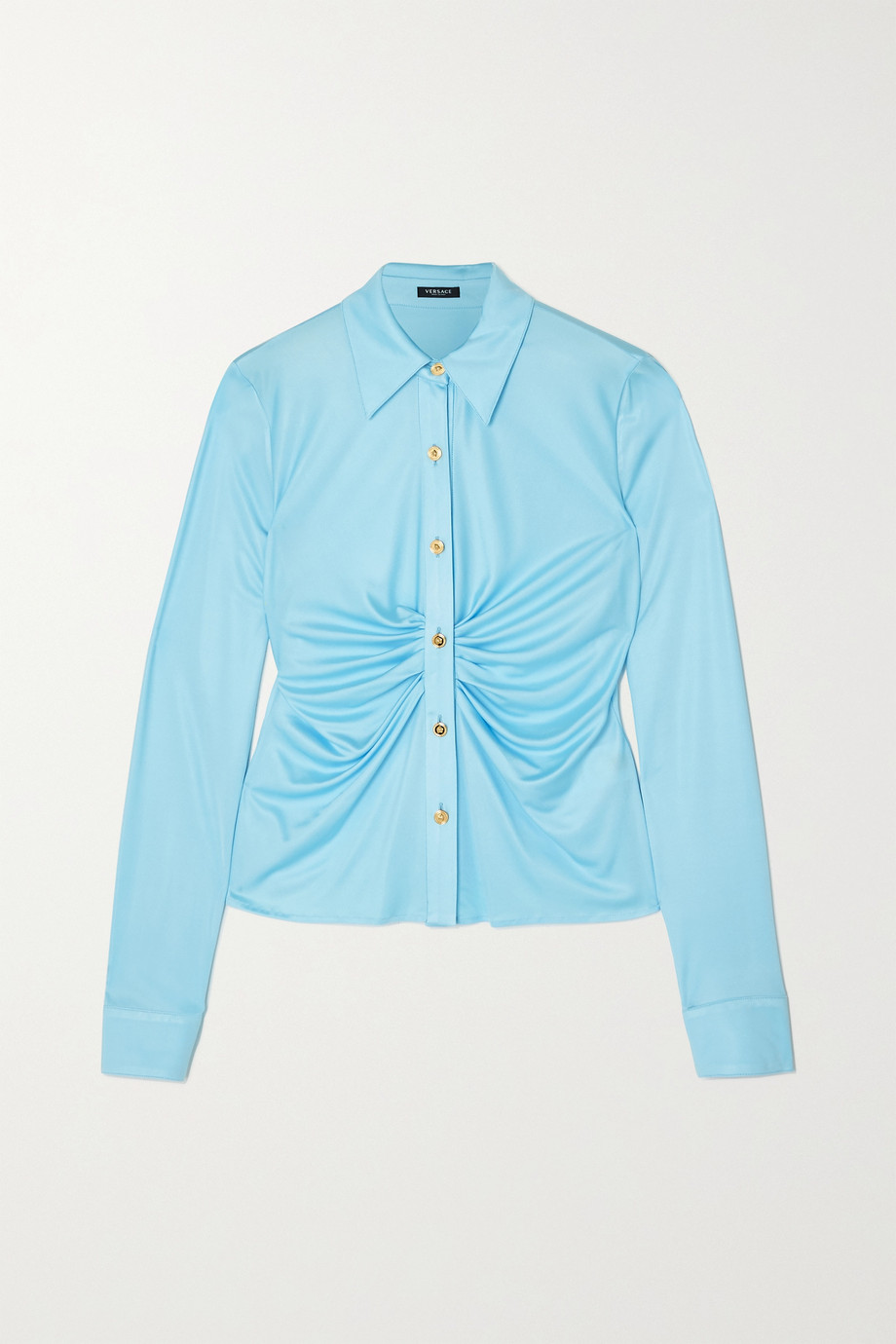 Versace Ruched satin-jersey blouse