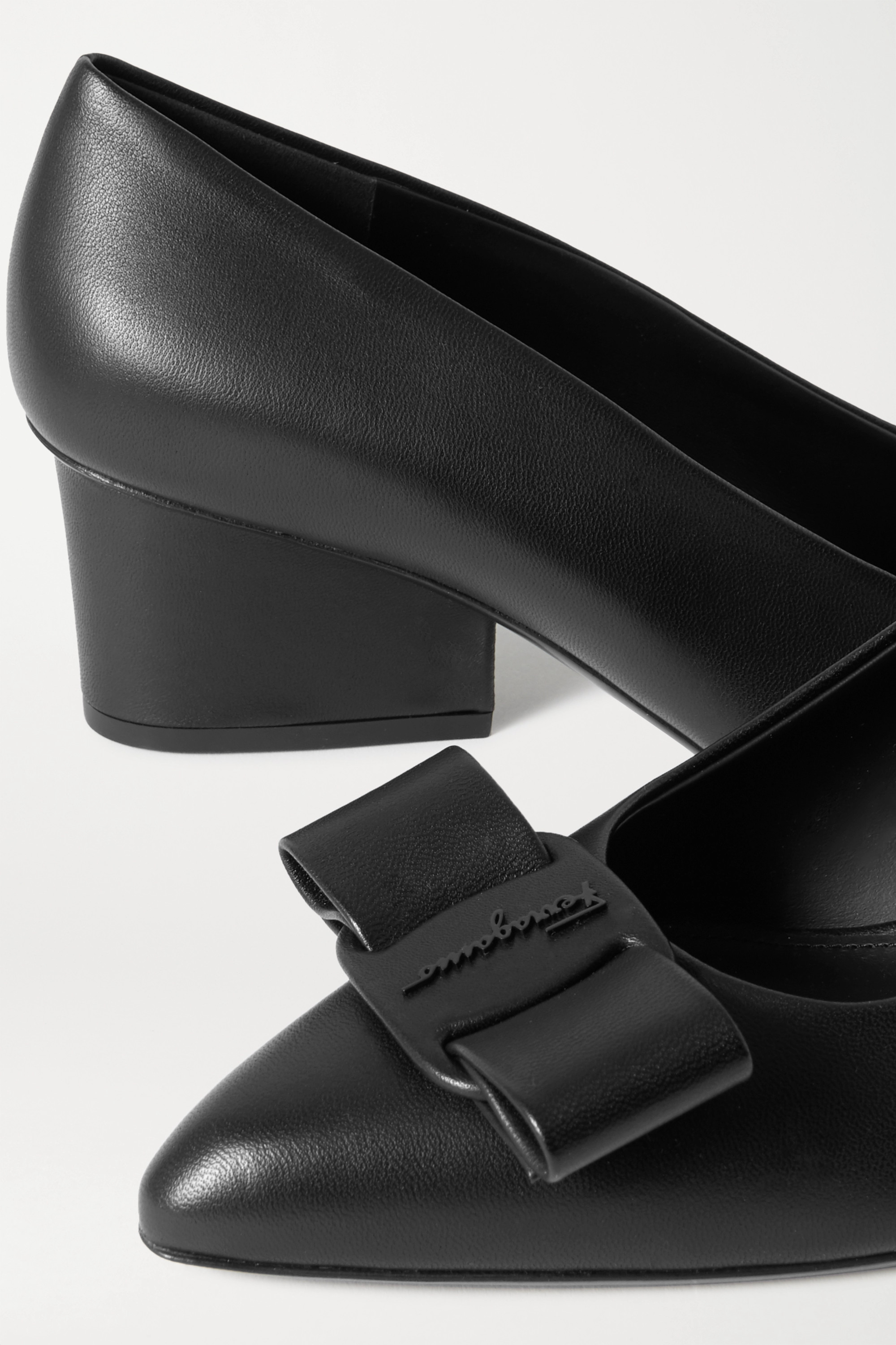 Salvatore Ferragamo Bow-embellished leather point-toe pumps