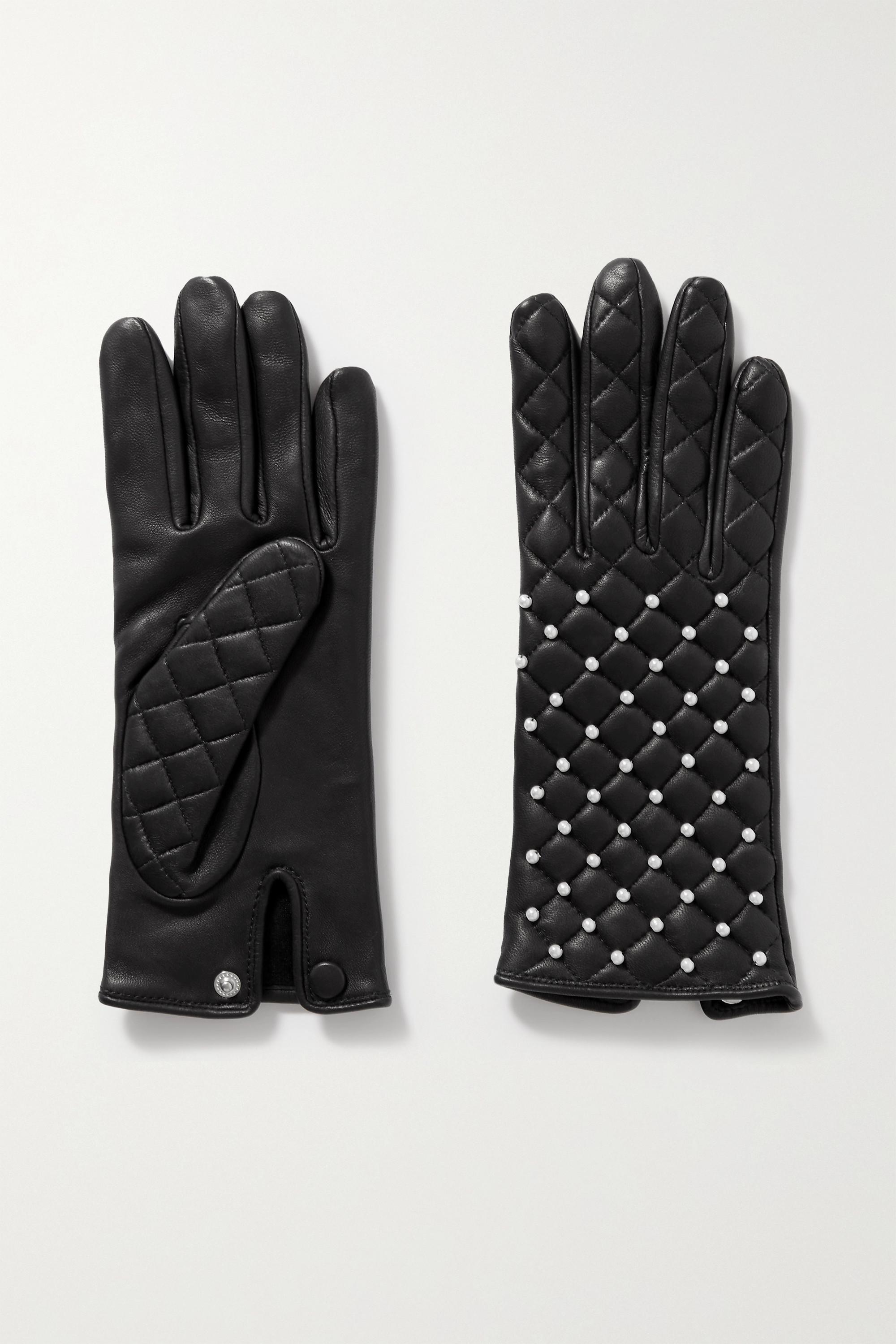 Agnelle Chloe Handschuhe aus gestepptem Leder mit Kunstperlen