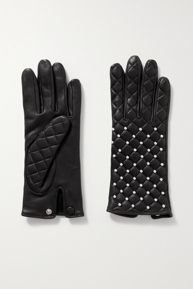 Agnelle Chloe Faux Pearl-embellished Quilted Leather Gloves In Black