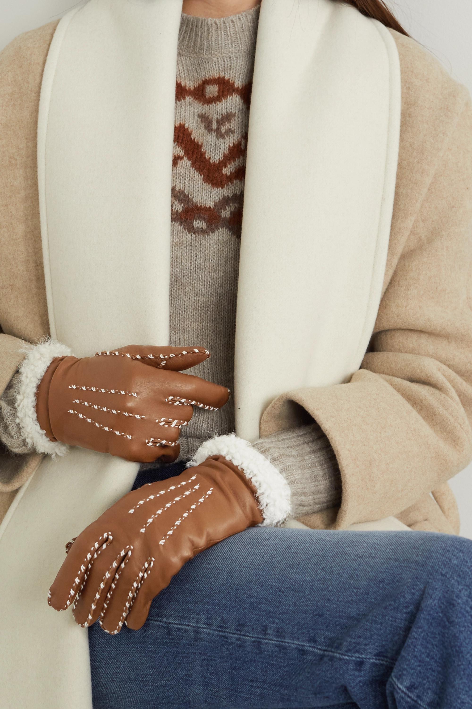 Agnelle Marie Louise Handschuhe aus Leder mit Futter aus Alpakawolle