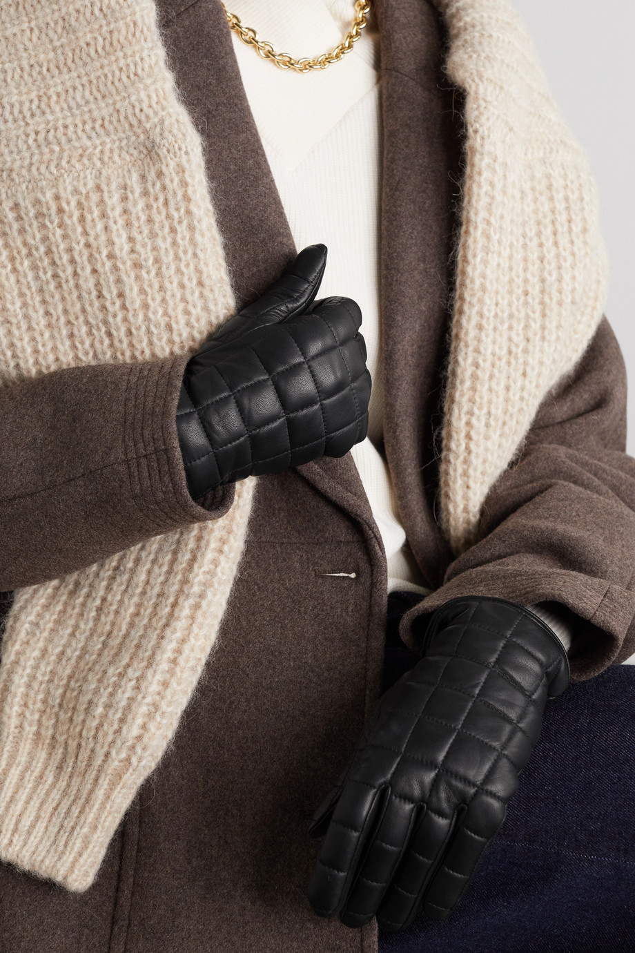 Agnelle Aceline quilted leather gloves