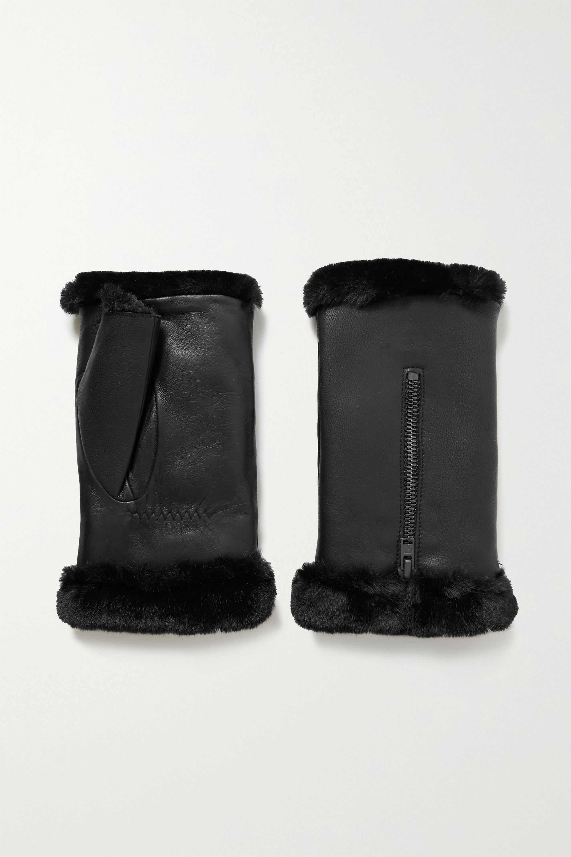 Agnelle Barbara fingerlose Handschuhe aus Leder mit Futter aus Faux Fur