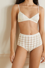 Baserange + NET SUSTAIN Mississippi checked flocked modal-blend tulle soft-cup triangle bra