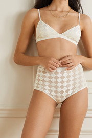 Baserange + NET SUSTAIN Bell checked flocked modal-blend tulle briefs