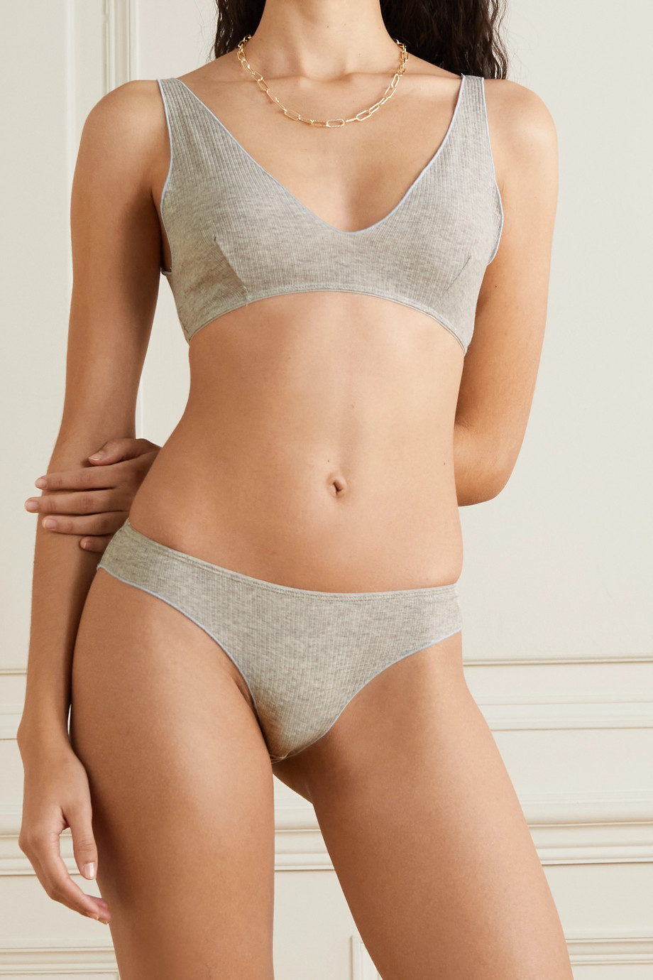 Baserange Pam ribbed stretch organic cotton soft-cup bra