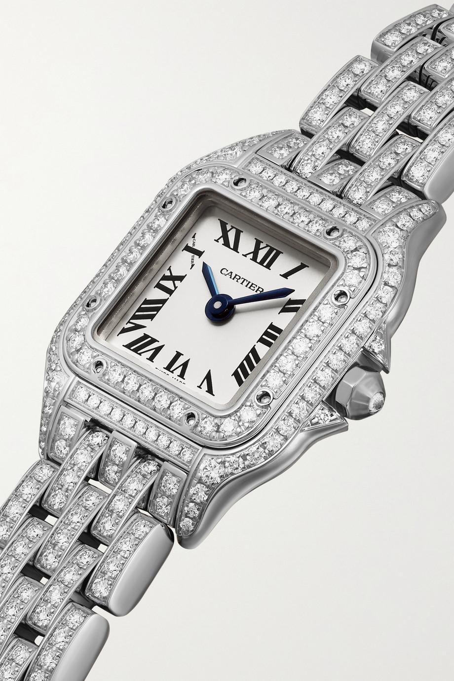 Cartier Panthère de Cartier 25 mm mini Uhr aus rhodiniertem 18 Karat Weißgold mit Diamanten
