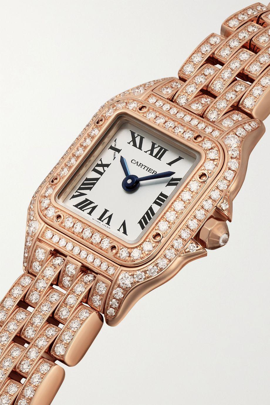 Cartier Panthère de Cartier 25 mm mini Uhr aus 18 Karat Roségold mit Diamanten