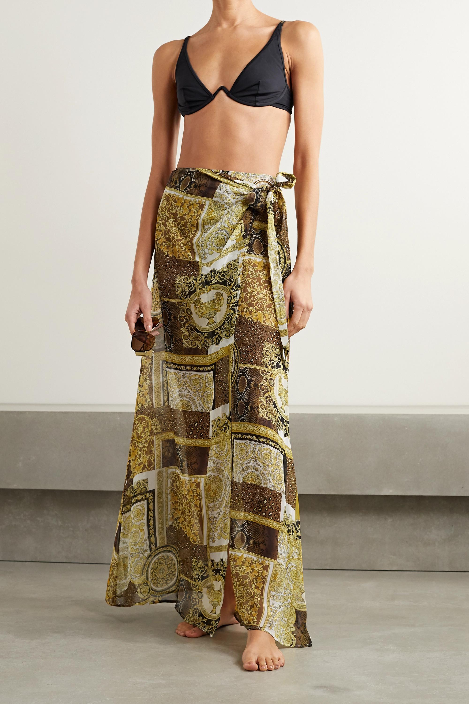 Versace Printed silk-georgette pareo