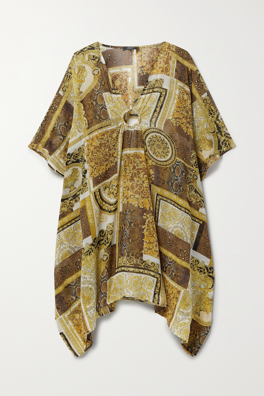 Versace Embellished printed silk-georgette kaftan
