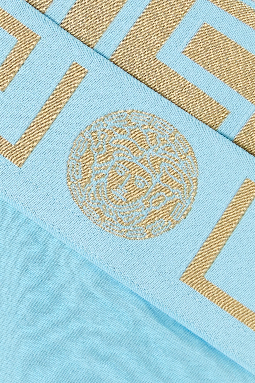 Versace String en jersey de coton stretch à finitions en jacquard Greca