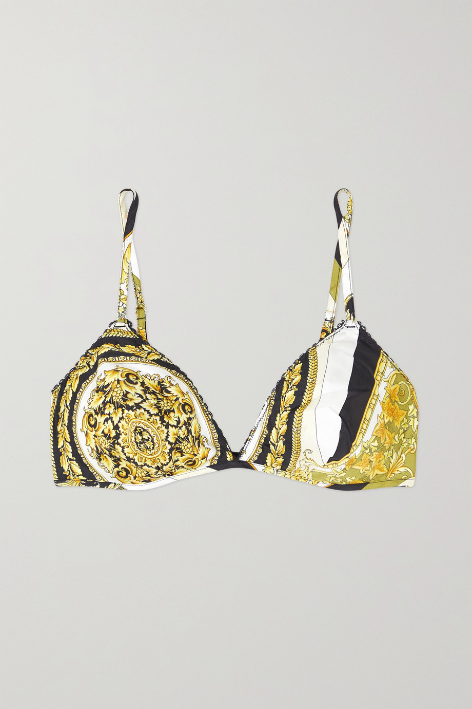 Versace Printed silk-twill soft-cup triangle bra