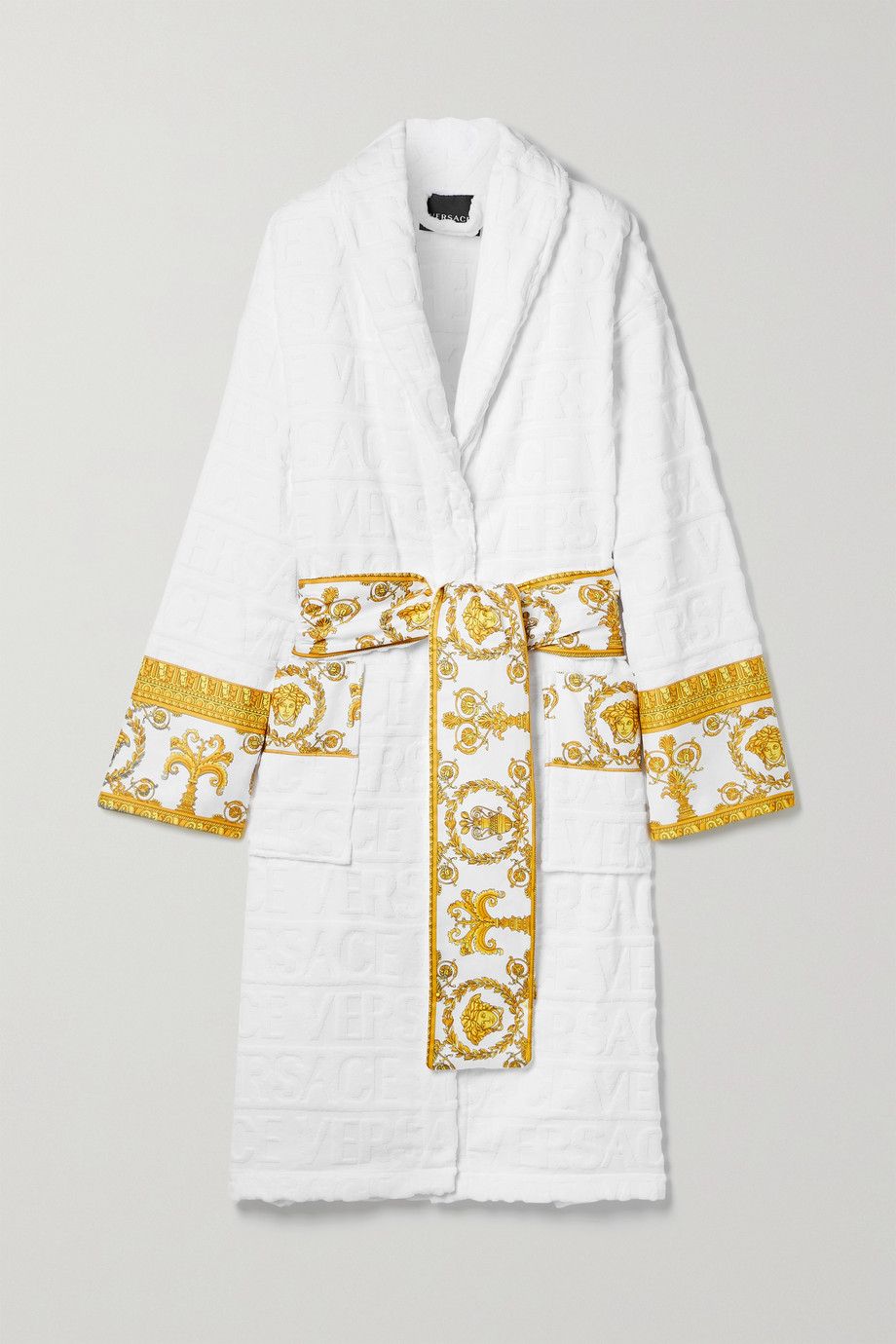 Versace Printed poplin-trimmed cotton-jacquard robe
