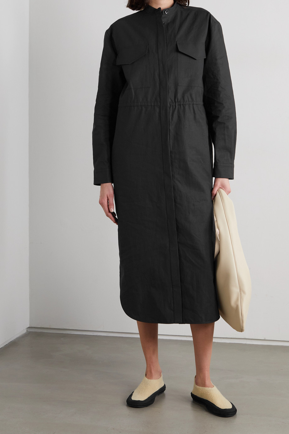 Jil Sander Coated-linen midi dress