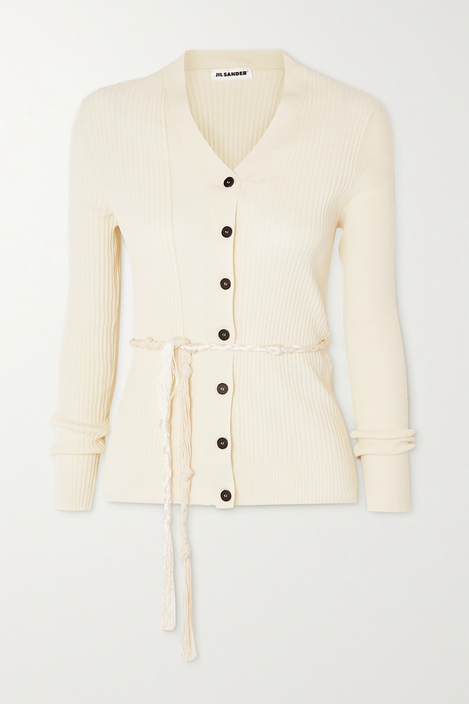 Jil Sander Belted ribbed cotton cardigan