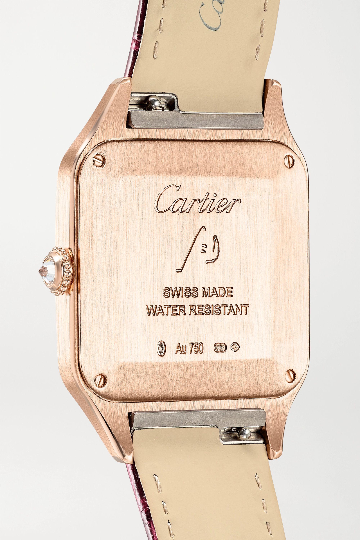 Cartier Montre en or rose 18 carats et diamants à bracelet en alligator Santos-Dumont Large 31,4 mm