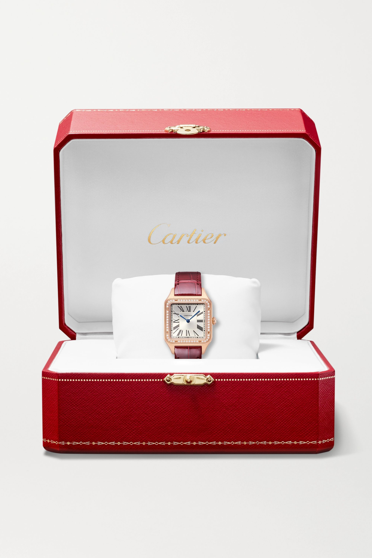 Cartier Santos-Dumont 31,4 mm große Uhr aus 18 Karat Roségold mit Alligatorlederarmband und Diamanten