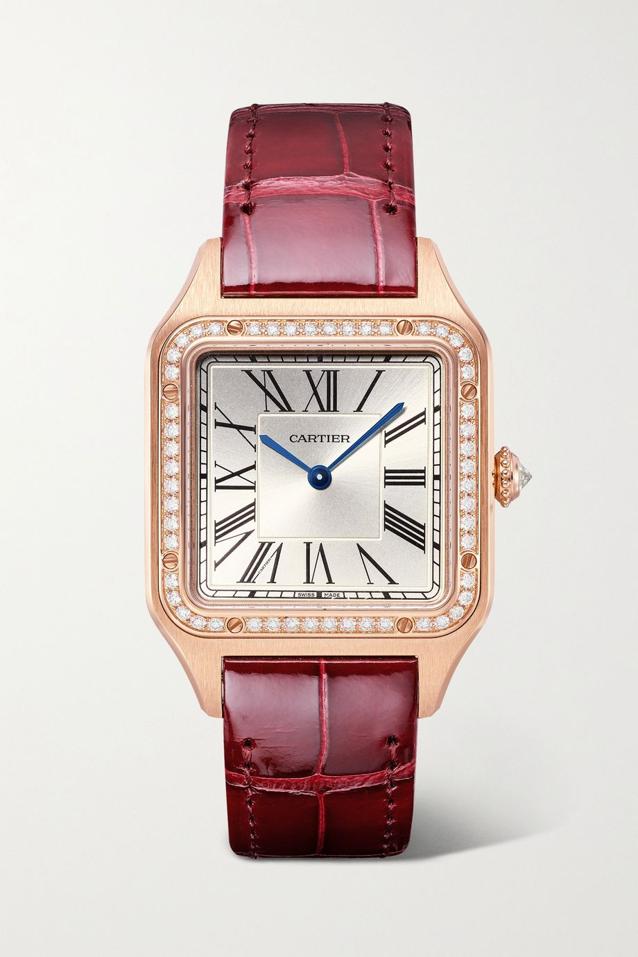 Cartier Santos-Dumont 31.4mm large 18-karat rose gold, alligator and diamond watch