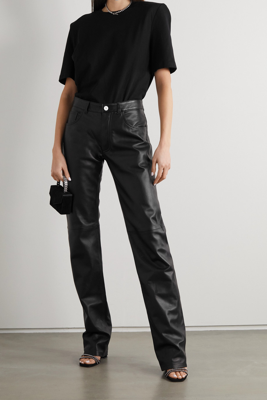 The Attico Leather straight-leg pants
