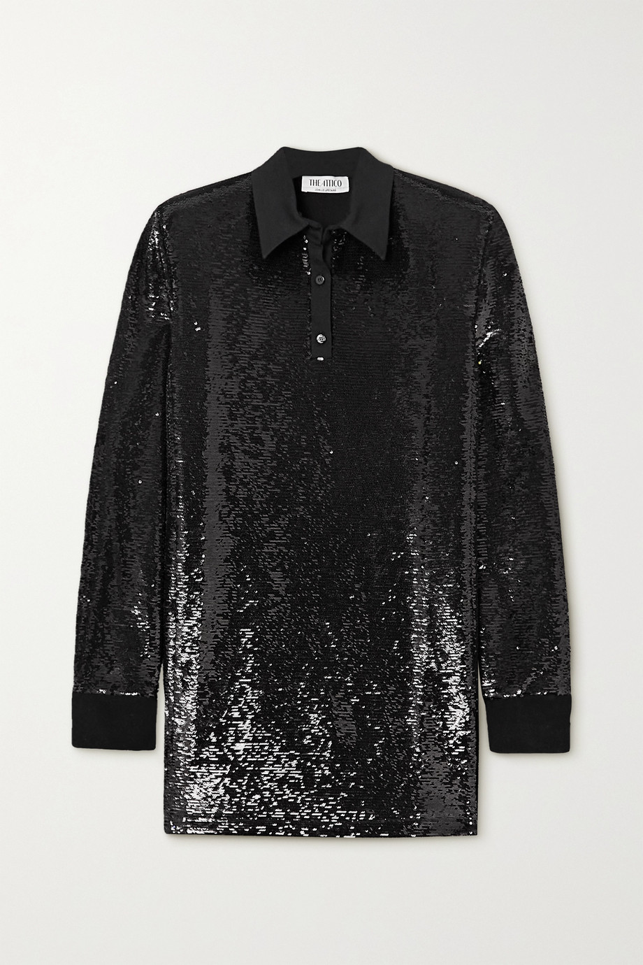 The Attico Satin-trimmed sequined jersey mini shirt dress