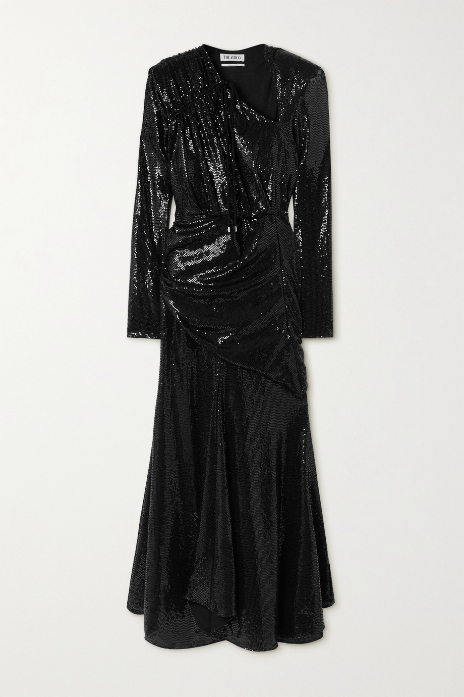 The Attico Asymmetric ruched sequined stretch-jersey maxi dress
