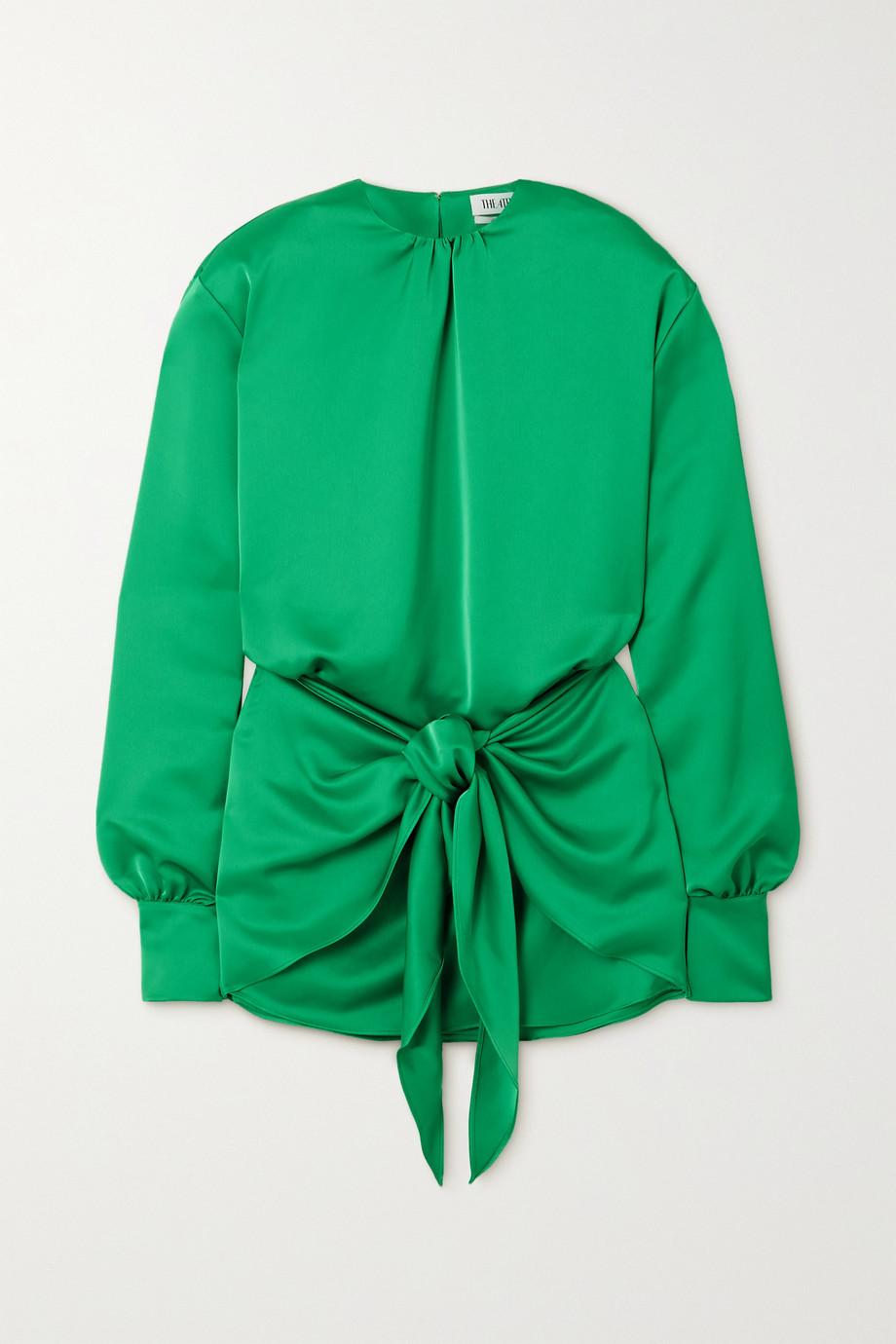 The Attico Tie-detailed satin mini dress