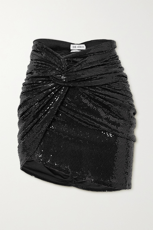 The Attico Asymmetric draped sequined jersey mini skirt