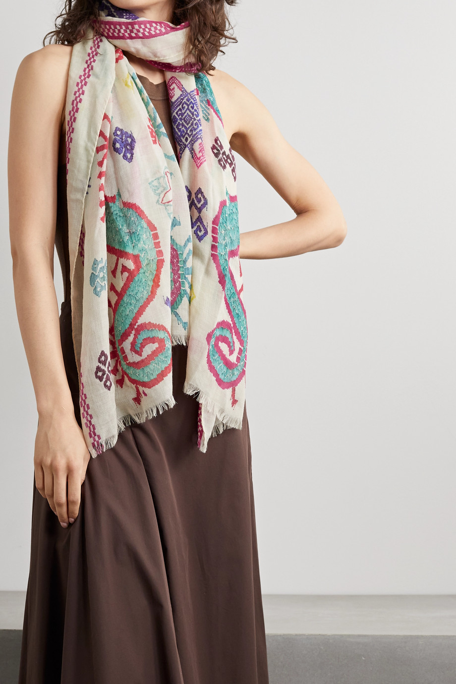 Etro Frayed printed cashmere scarf