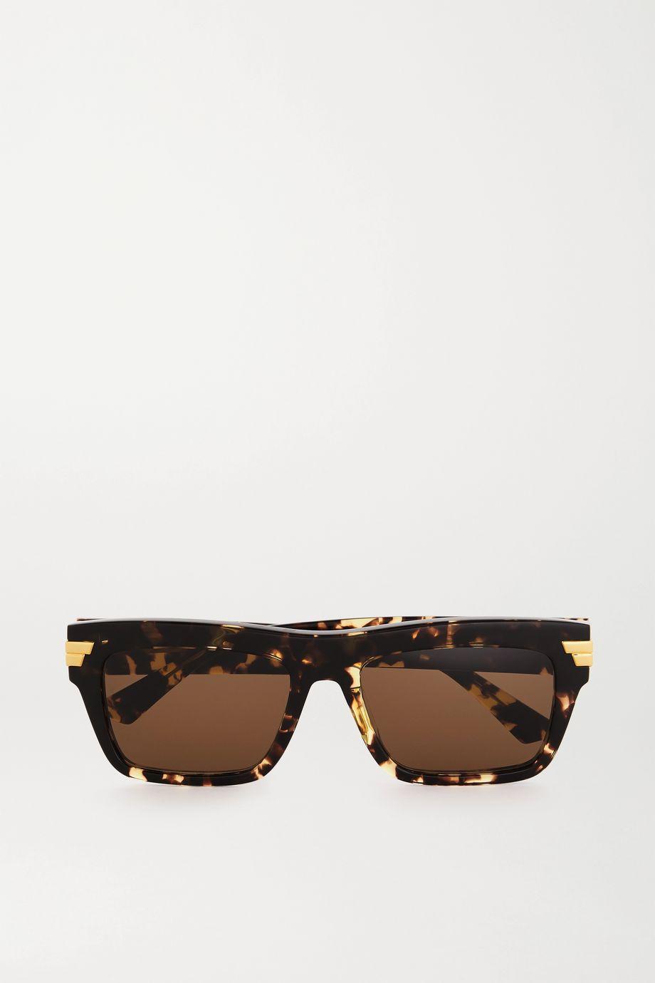Bottega Veneta Sonnenbrille mit eckigem Rahmen aus Azetat in Hornoptik