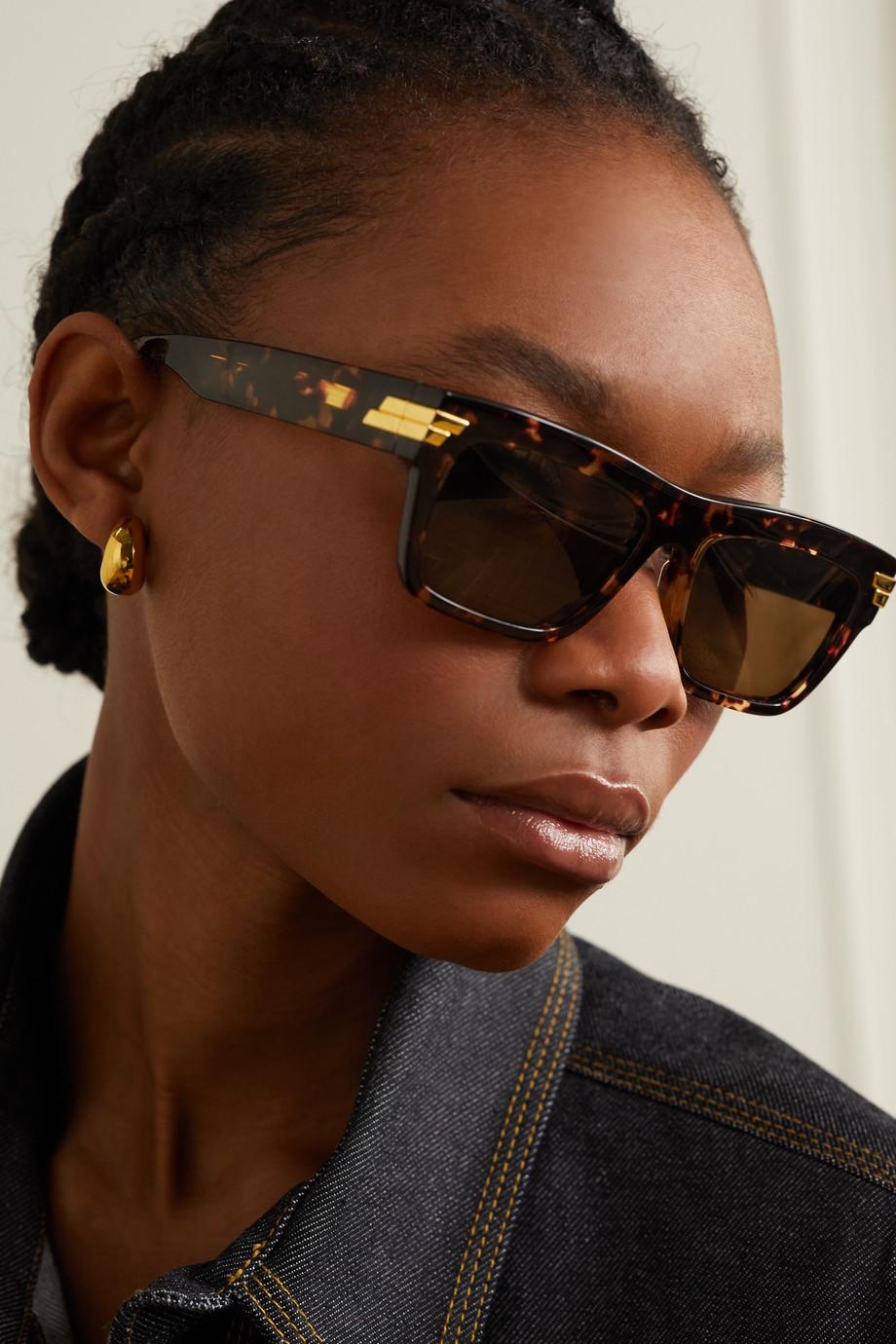 Bottega Veneta Square-frame tortoiseshell  acetate sunglasses