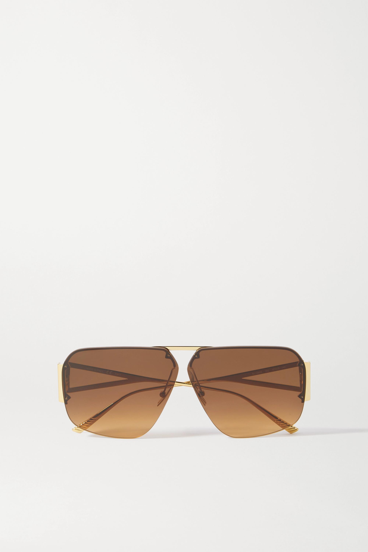 Bottega Veneta Lunettes de soleil aviateur dorées