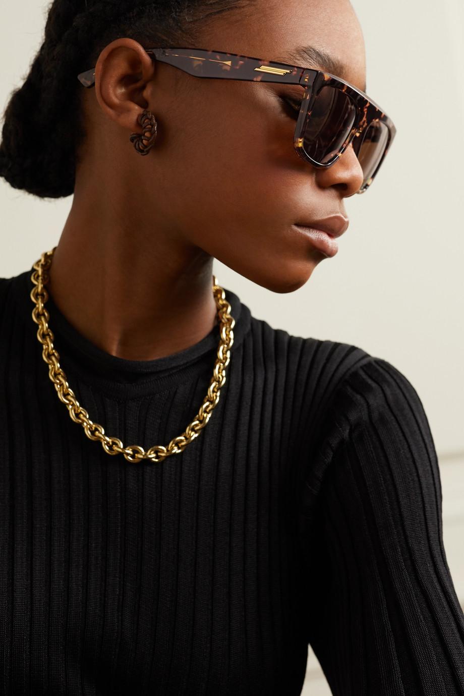 Bottega Veneta Sonnenbrille mit D-Rahmen aus Azetat in Hornoptik
