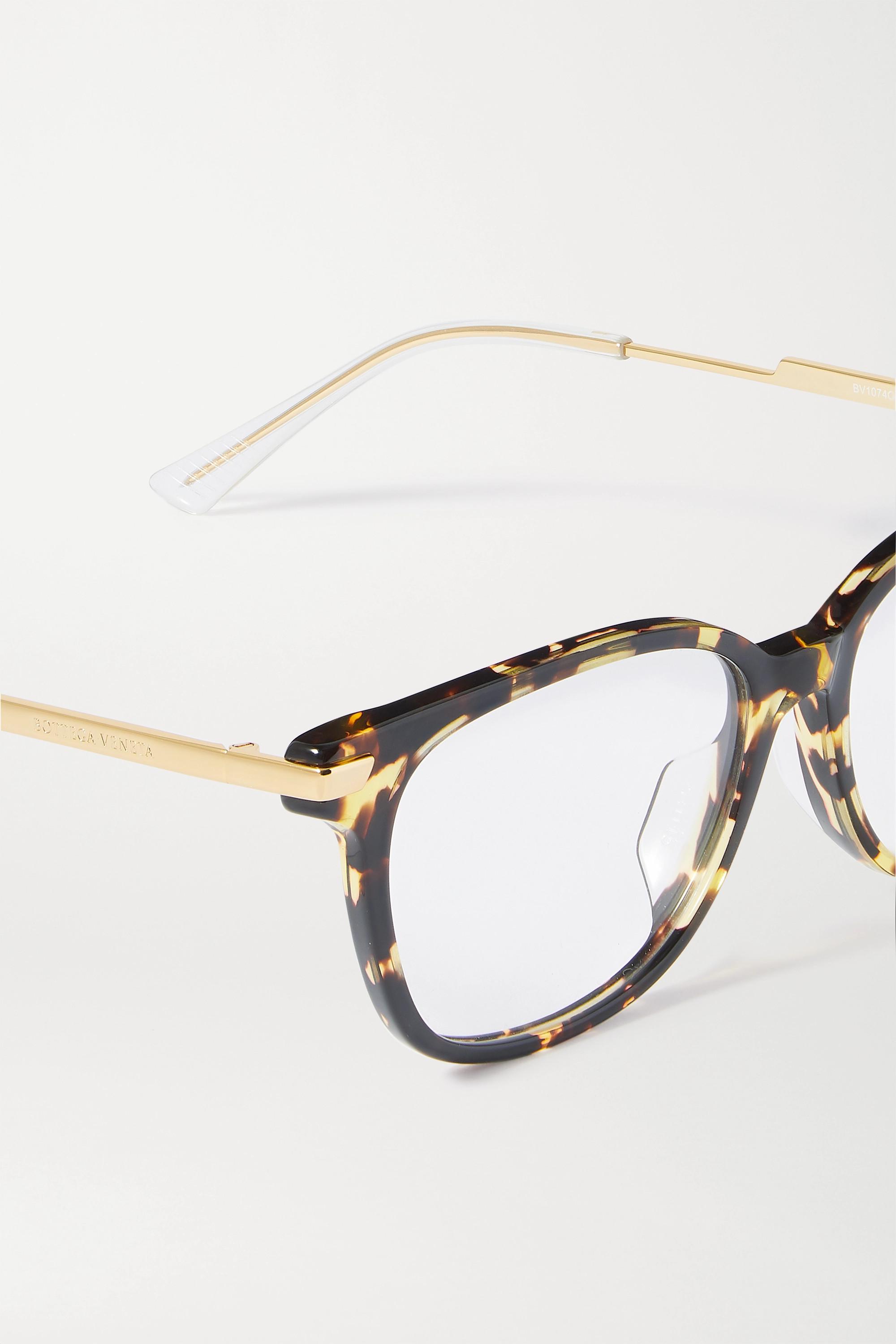 Bottega Veneta Square-frame tortoiseshell acetate and gold-tone optical glasses